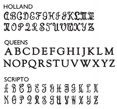 FONT STYLES FOR PERSONALIZATION
